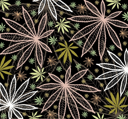 Wallpaper with colored leavs of cannabis Vector