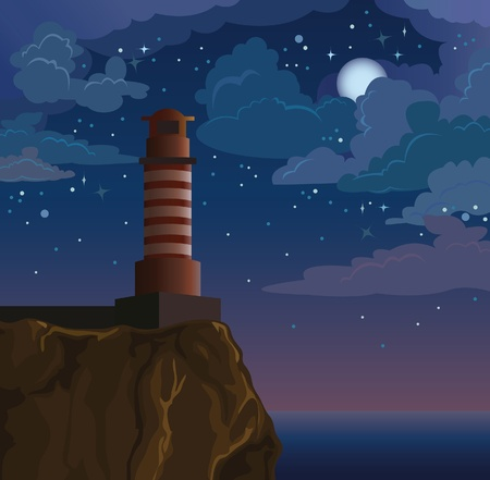cliffs: Vector lighthouse on nighte sky with stars and moon