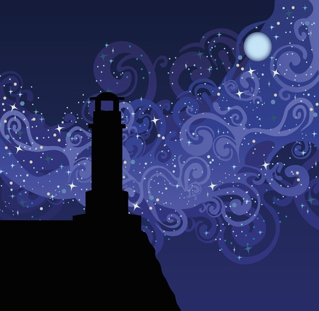 Illustration with sillhouette of lighthouse on blue sky with stars and milky way Vector