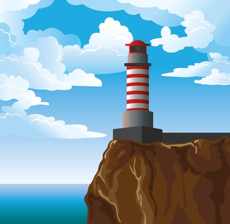 rocks water: Vector lighthouse on blue sky with white clouds