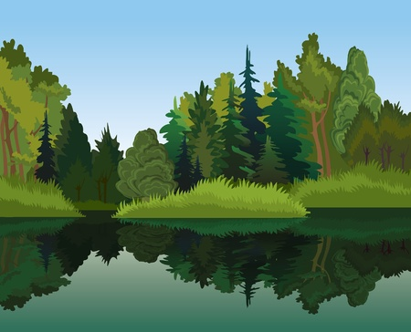Vector landscape with green trees and blue lake on a sky background
