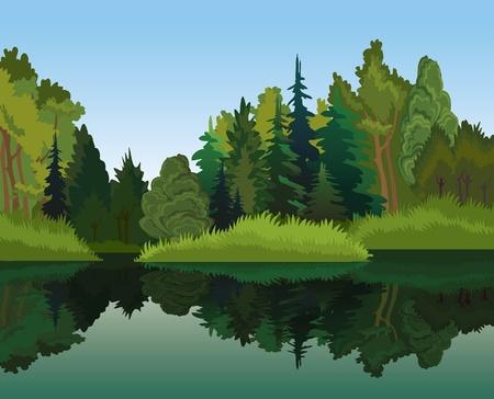 Vector landschap met groene bomen en blauw meer op een hemel achtergrond