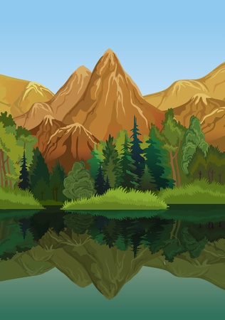 sea scenery: Vector landscape with mountains, green trees and blue lake on a sky background