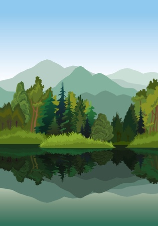 Vector paesaggio con le montagne, gli alberi verdi e lago blu su uno sfondo del cielo