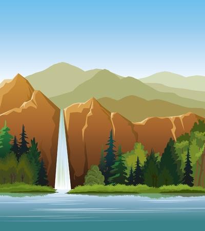 Woterfall y el bosque verde en un cielo azul nublado