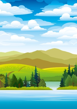 Green landscape with mountains, trees and blue lake on a sky background Illustration