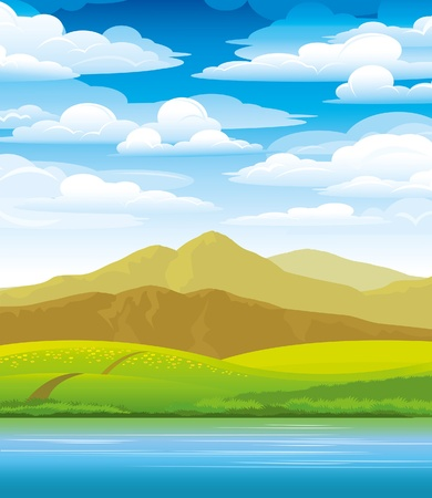 sea green: Green landscape with meadow, mountains and river on a cloudy sky background