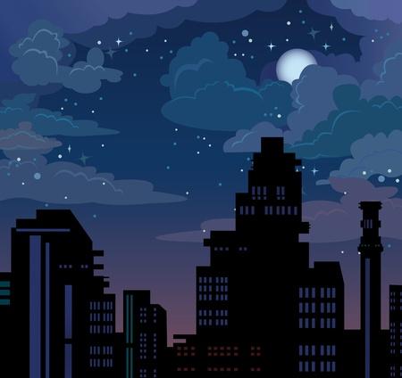 estrellas moradas: Ilustraci�n con la ciudad nighte en el cielo azul con estrellas y la luna
