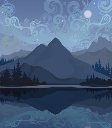 Vector paisaje nocturno con las montañas, el lago y el bosque sobre un fondo estrellado del cielo