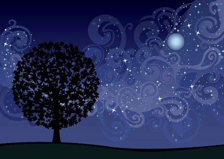 Illustration with tree under night sky with stars and milky way