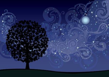 noche estrellada: Ilustración con árbol bajo el cielo nocturno con las estrellas y la Vía Láctea