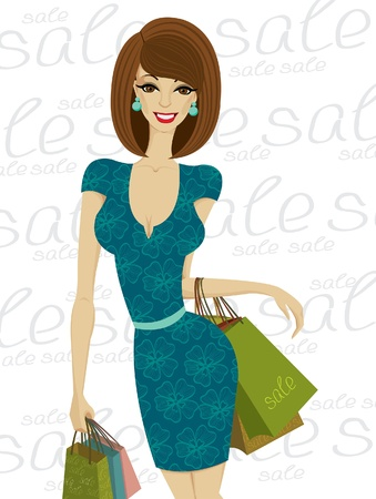 green dress: Sexy fashion happy woman with shopping bags