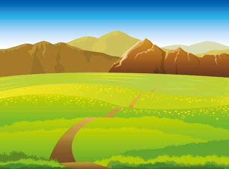 Paysage vert avec des prés, des forêts et montagnes sur un fond de ciel bleu