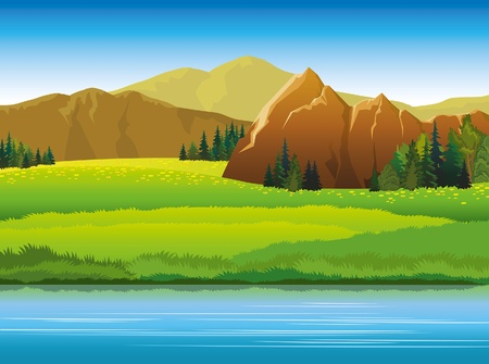scenics: Vector landscape with mountains, green trees and blue lake on a sky background