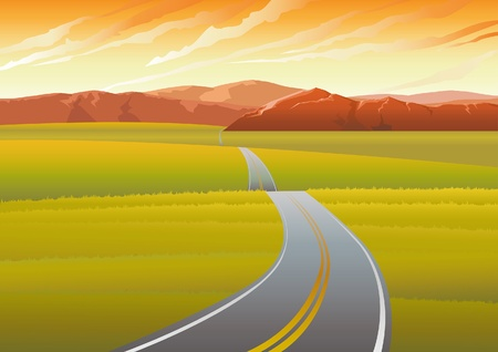 far: Vector landscape with long road, meadow and mountains