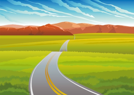 long road: Vector green landscape with long road, mountains and meadow on a blue sky Illustration