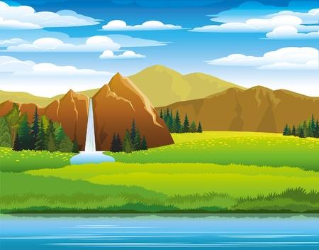 Zonas verdes y praderas, montañas y woterfall sobre un fondo de cielo nublado Ilustración de vector