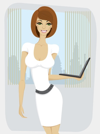 Beautiful yang woman in white dress with laptop standing at the office Vector
