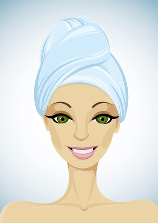 Beautiful woman with blue towel on head Stock Vector - 10855606
