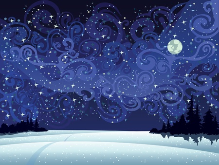 moon night: Beautiful wintry landscape with night sky, snow-covered nature and light moon Illustration