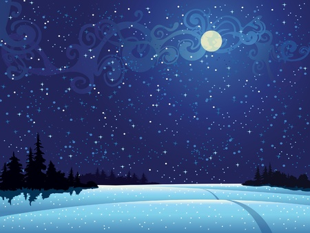 Beautiful wintry landscape with night sky, snow-covered nature and light moon Illustration