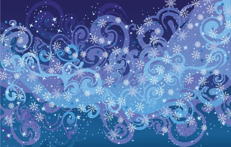Abstract blue snow background. Vector  Vector