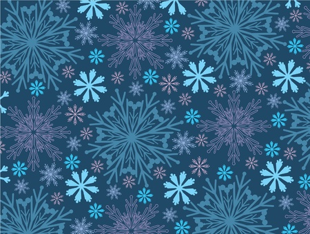 Abstract snow wallpaper on a blue background Vector