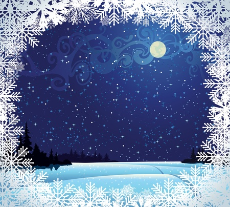 Beautiful wintry landscape with night sky, snow-covered nature and light moon Stock Vector - 10924000