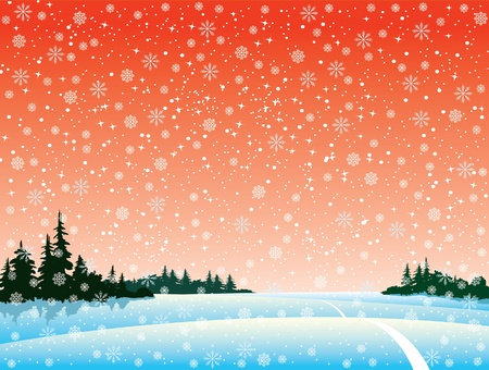 Vector winter landscape with forest and snowfall Vector