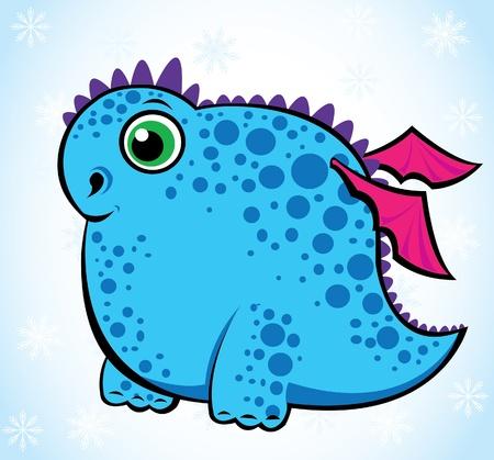 Cartoon funny dragon on a blue background Vector