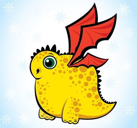 Cartoon yellow funny dragon on a blue background Vector