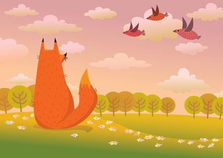 fox: Cartoon red fox and flying birds on a sunset nature Illustration