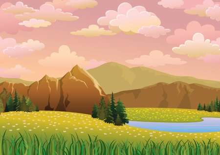 mountain view: Green  landscape with meadow, lake and mountains on a pink cloudy sky