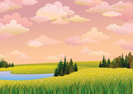 cloudy day: Green  landscape with meadow, lake and forest on a pink cloudy sky
