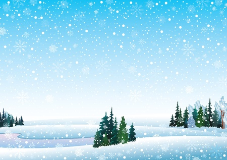 snow scenes: Vector winter landscape with frozen lake, forest and snowfall Illustration