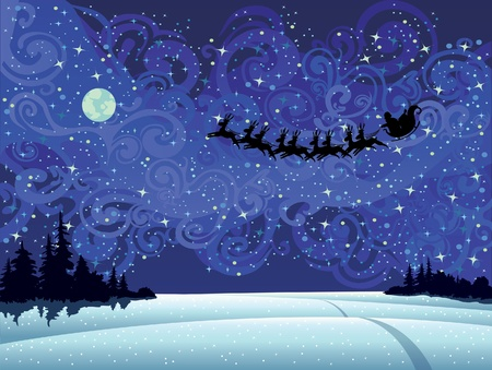 Santa flying into the winter christmas sky  Vector