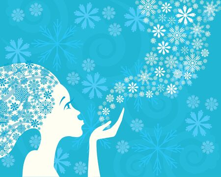 lightness: Winter beautiful woman and snowflakes on a blue background