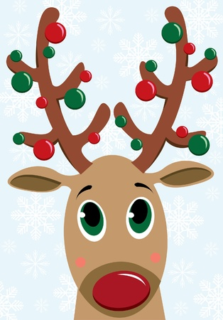 Cartoon funny deer on a snowflakes background Stock Vector - 10924060