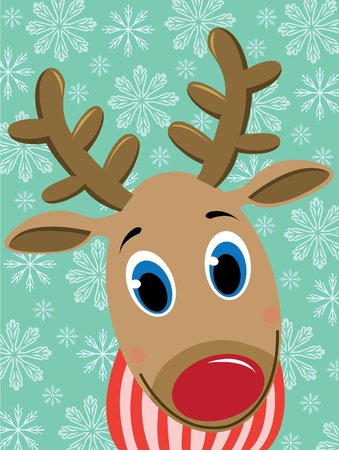 Cartoon funny deer on a snowflakes background Vector