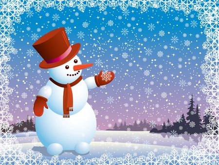 snowman background: Cartoon happy snowman looking at the snowflake