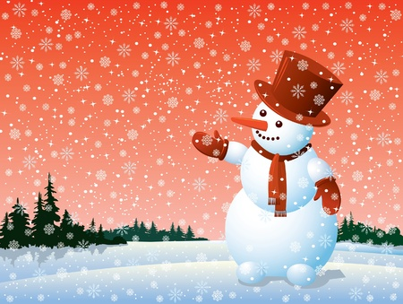 Cartoon happy snowman looking at the snowflake Vector