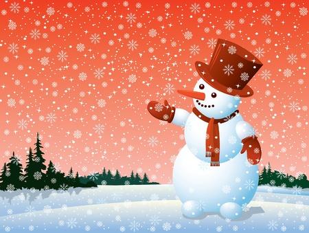 Cartoon happy snowman looking at the snowflake Stock Vector - 10924067