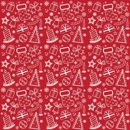 Red Christmas wallpaper with new year theme Vector