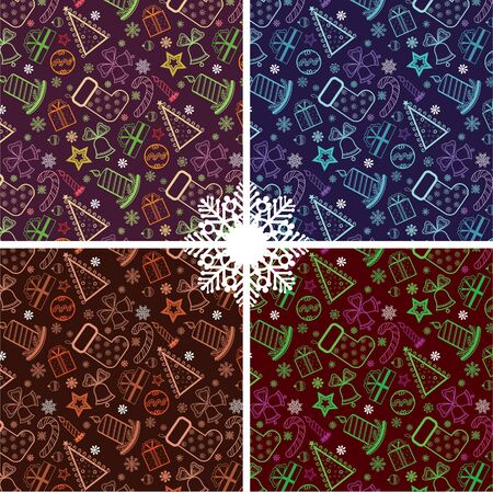 Set of colored Christmas wallpaper with new year theme Vector