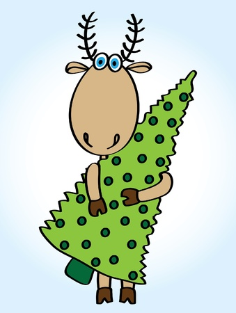 Cartoon funny deer with green christmas tree on a blue background Vector
