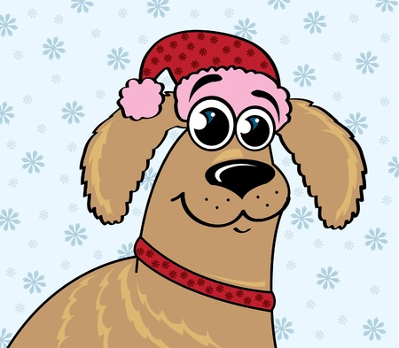 pet new years new year pup: Cartoon funny dog with red hat on a winter  background