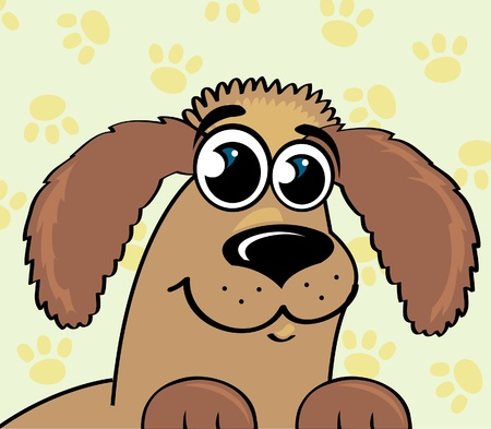 Cartoon funny dog  on a yellow footprint  background Vector