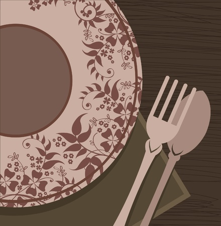 Plate, spoon and fork on a table Vector
