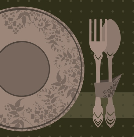 Plate, spoon and fork on a green background Vector
