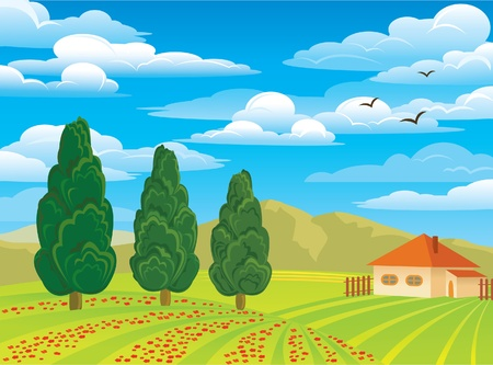 summer green landscape with trees, house and red flowers on a blue cloudy sky background Vector